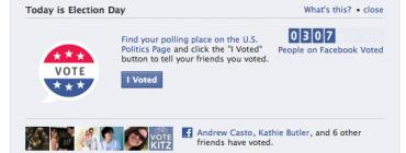 "Screenshot from Facebook: Find your polling place on the US Politics Page and click the ""I Voted"" button to tell your friends you voted"