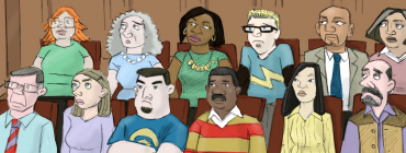 Cartoon of a racially diverse jury