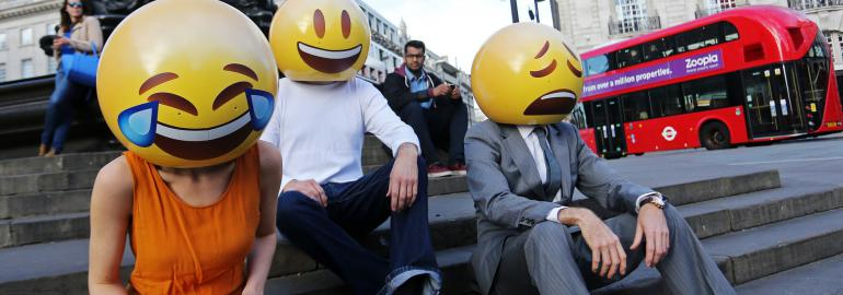 People with emoticons on their heads