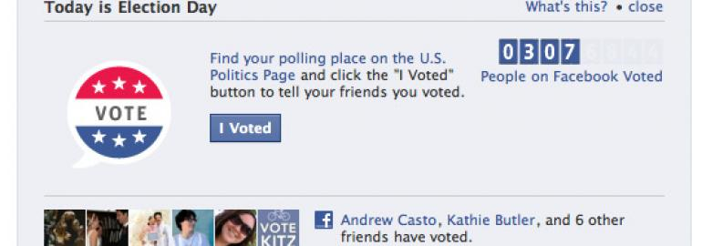 """Screenshot from Facebook: Find your polling place on the US Politics Page and click the """"I Voted"""" button to tell your friends you voted"""