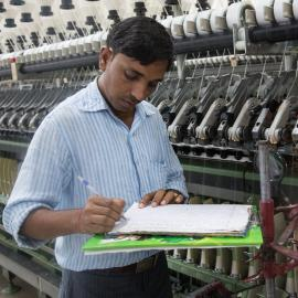A manager in a textile factory