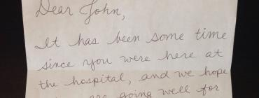 """Letter that reads: """"Dear john, It has been some time since you were here at the hospital, and we hope..."""