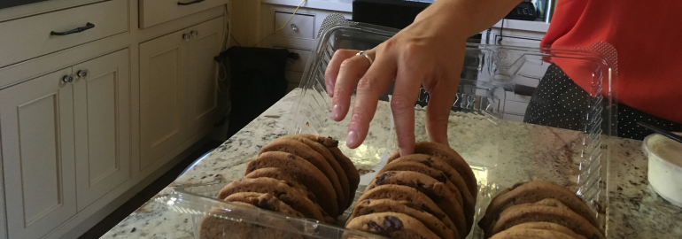 Person's hand grabbing a cookie