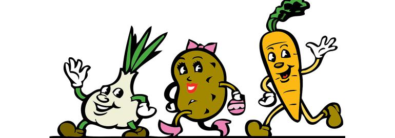Vegetable cartoon characters smiling and waving